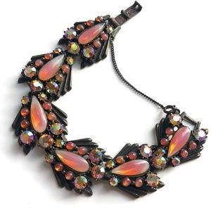 1950s Vintage Florenza pink AB crystal bracelet
